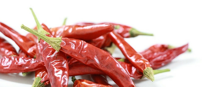 dried red chilli white background